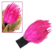 Girls Black Lace Stretch Hairband with Large Hotpink Feather Piece & Rhinestones