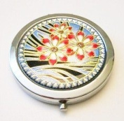 Flower Trio on Blue Make-up Round Compact Mirror
