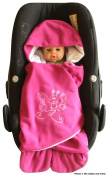 ByBUM- Swaddling Wrap, Car Seat and Pram Blanket for Spring, Summer and Autumn/Fall, Universal for infant and child car seats eg; Maxi-Cosi, Roemer, for a pushchair/stroller, buggy or baby bed; BRIGHT PINK BUTTERFLY