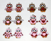 Valentine Owl Charms - Set of 12 Charms