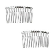 Beadaholique 2-Piece Fancy Hair Combs with Fun Craft Beading Project, 3.2cm , Silver