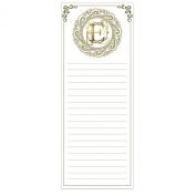 Grasslands Road Cucina Monogram Metallic Gold Letter Initial E Magnetic Memo Pad