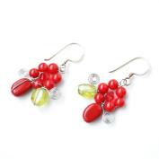 Red Jasper Silver Earring Gem Stone Handmade by Flower GemStone