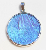 Blue Morpho Butterfly Wing Large Round Pendant