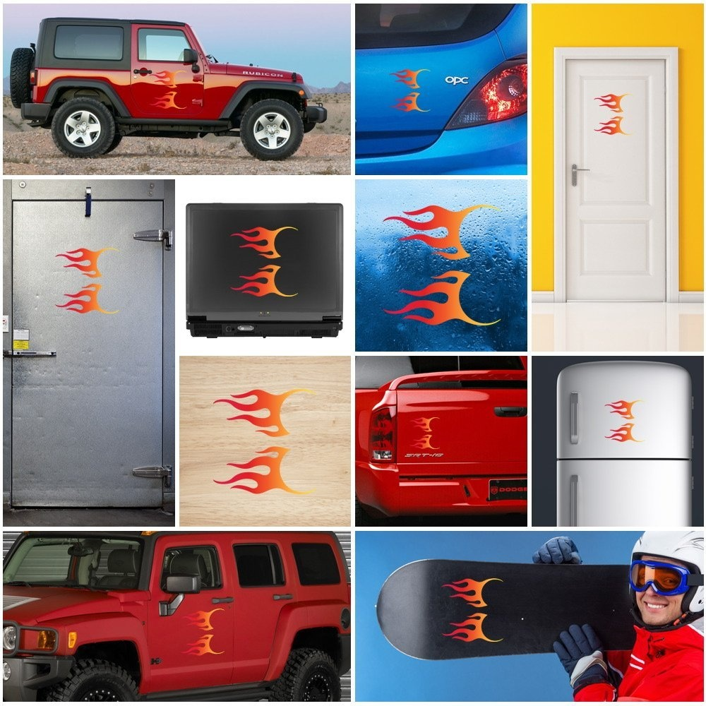Stickers Decals Pair OF Flames RED Orange Yellow Vehicle
