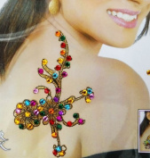 Acrylic Bead Multicolor Glitter Art Back Shoulder Indian Women Temporary Tattoo