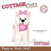 CottageCutz Die 10cm x 10cm -Puppy With Heart Made Easy