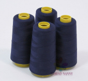 4 Large Cones (3000 yards each) of Polyester threads for Sewing Quilting Serger NAVY BLUE Colour from ThreadNanny