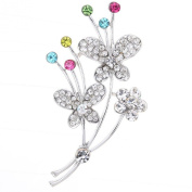 Yazilind Jewellery Pretty Silver Tone Butterfly Flower Inlay Diamante Colourful Crystal Brooches and Pins