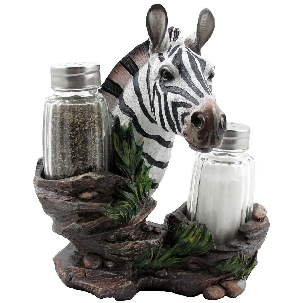 Decorative Zebra Glass Salt And Pepper Shaker Set With