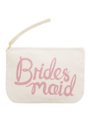 "Canvas Pouch - Make Up/Cosmetic Bag ""Bridesmaid"" - Pink Print - By Alphabet Bags"