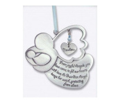 Sweet GUARDIAN ANGEL Baby BOY Crib Medal 10cm PEWTER - CHRISTENING/SHOWER GIFT/Baptism KEEPSAKE/with BLUE RIBBON/GIFT BOXED/INFANT - Newborn