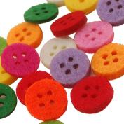 Summer-Ray.com 500 Multi Coloured Felt 4-eye Buttons
