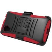 Red Black HyBrid Rubber Soft Skin Holster Beltclip Belt Clip Kickstand Case Hard Cover For LG Google Nexus 5 D820