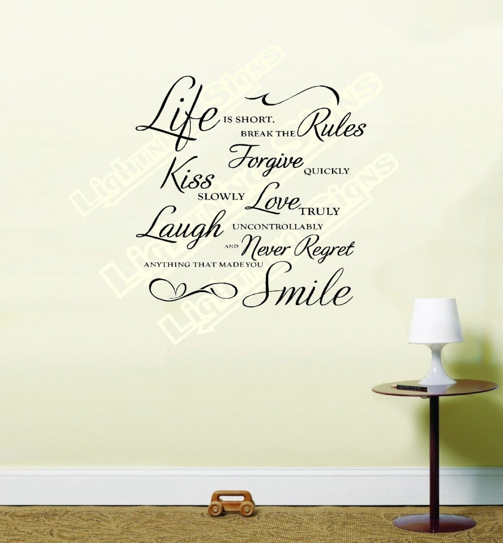 Life-is-Short-Break-the-Rules-Wall-Art-Quote-Vinyl-Wall-Art-Sticker-Decal-Black