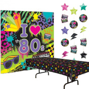 80s Party Decorations Bundle of 3 - Plastic Tablecover, Giant Wall Scene Setter and String Decorations