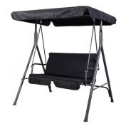 Goplus® Patio Swing Outdoor Canopy Awning Yard Furniture Hammock Steel Black 2 Person