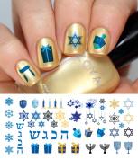 Hanukkah Holiday Assortment Water Slide Nail Art Decals Set #1 - Salon Quality 14cm X 7.6cm Sheet!
