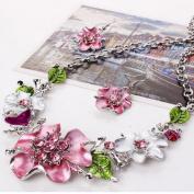 Wensltd Lady women Fashion Sweet Temperament Wild flowers Diamond Necklace Set