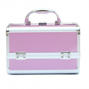 Ogima® Cosmetic Makeup Train Case with Mirror Cover Board and Easy Clean Extendable Trays, Smooth