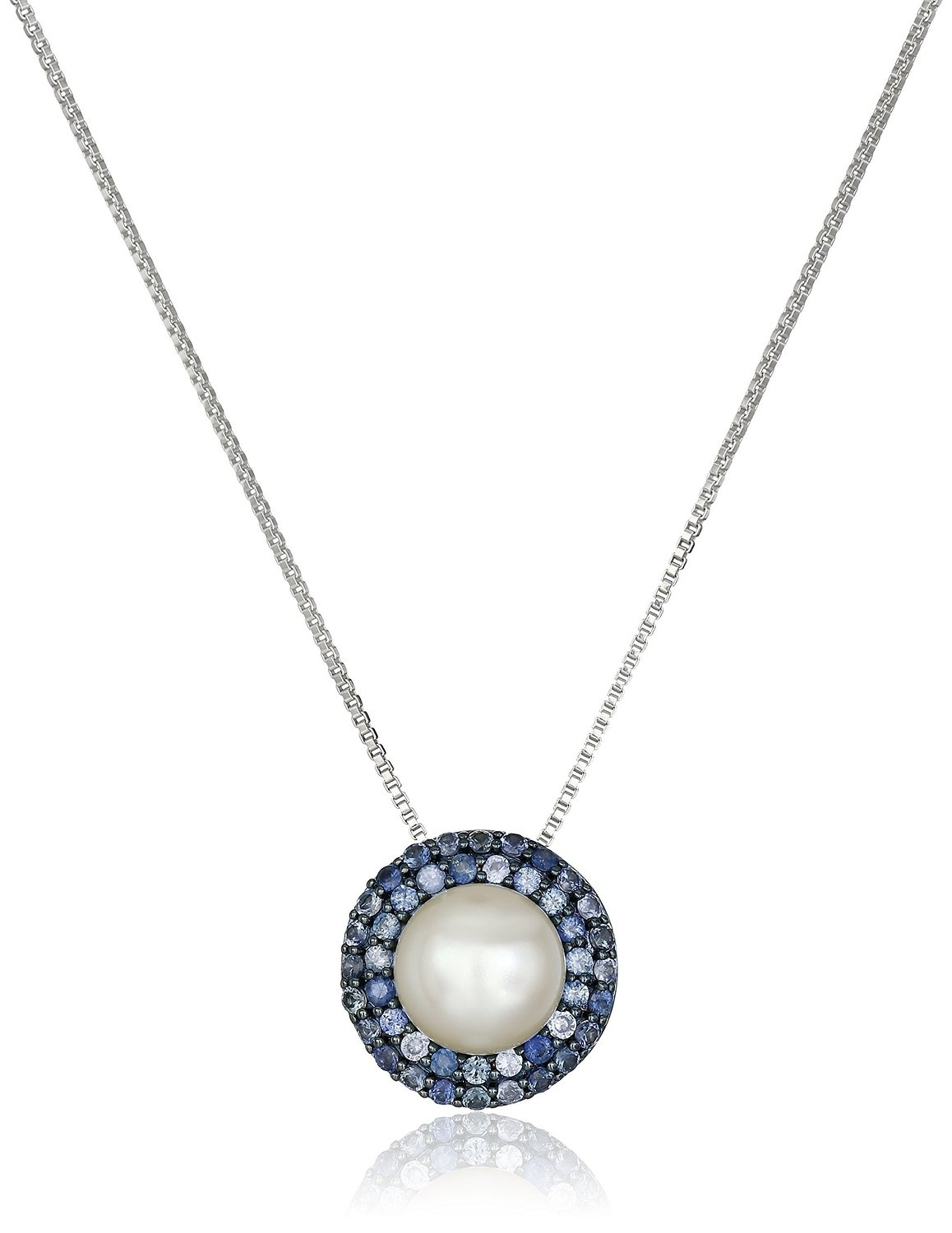sterling silver freshwater cultured pearl with sapphire