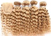 Yami 7A Grade Brazilian Curly Hair 3PCS Lot Brazilian Curly Virgin Hair Weaves, Brazilian Jerry Curl Virgin Hair with Top Lace Closure Blonde 27#