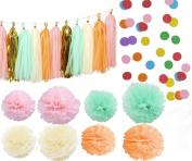 Kubert® 30 pcs Tissue Paper Pom Pom Gold Tissue Pom Pom Paper Tassel Polka Dot Paper Garland for Baby Shower Decoration Wedding Nursery Decorations Bridal Shower