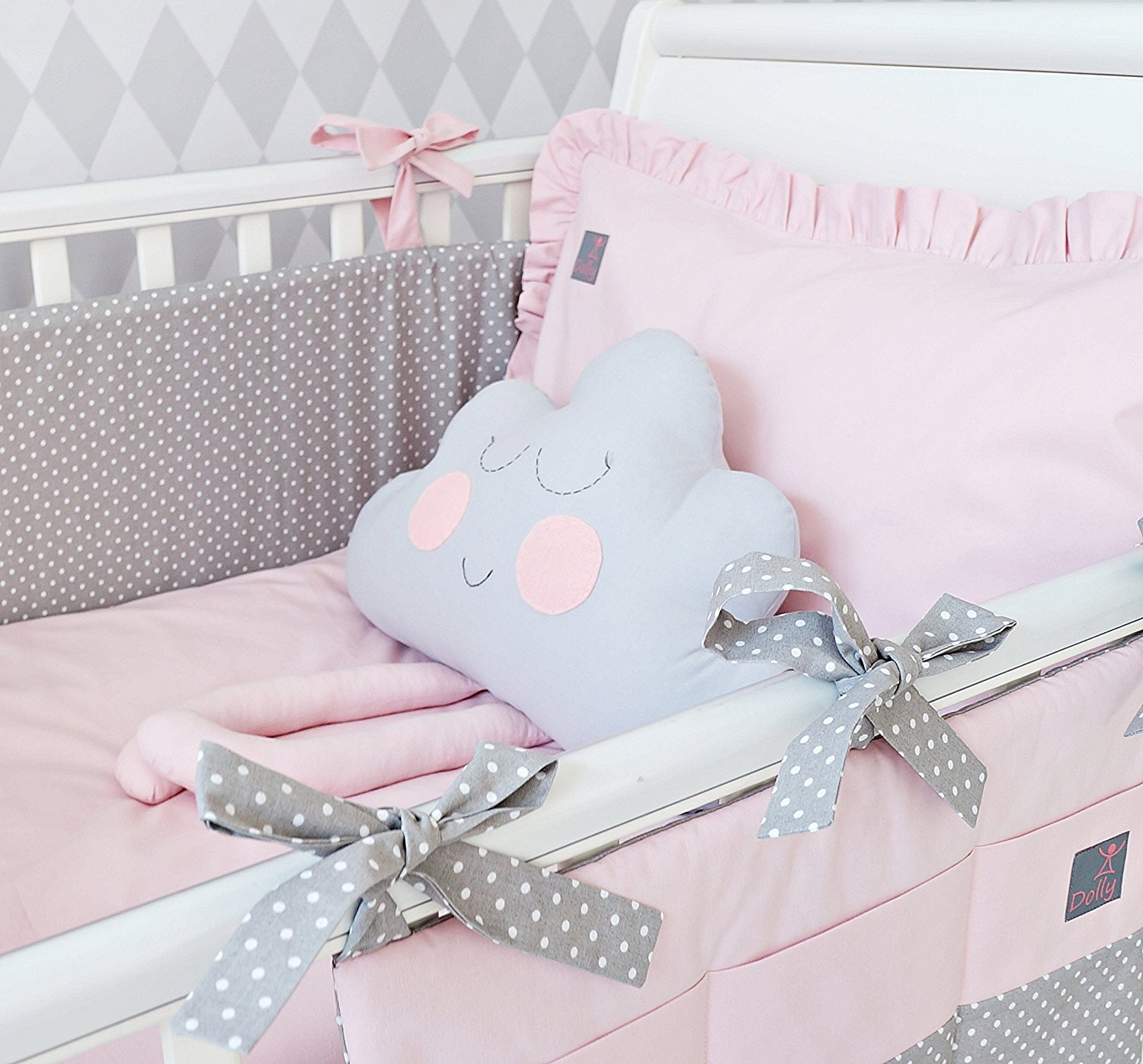 **NEW EXCLUSIVE & LUXURY BABY GIRL BEDDING SET - powder pink + grey polka dot - DUVET, PILLOW ...