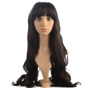 Namecute Extra Long Wigs Deep Brown Curly Wig with Full Bangs for Women