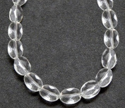 GLASS BEAD OVAL FLAT PUFF FACETED 7x5mm CRYSTAL CLEAR strand SALE