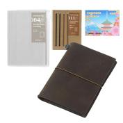 Midori Traveller's Notebook Leather BUNDLE SET , Passport Size Brown , Refill Connexion Rubber Band , Clear Zipper Case , Original Sticky Notes
